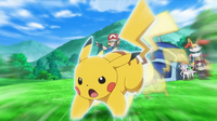EP918 Pikachu de Ash usando ataque rápido