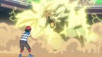 EP1072 Pikachu usando Rayo para tumbar a Gyarados y a Skarmory