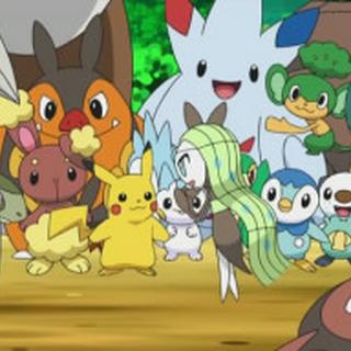 Meloetta conociendo a los demás Pokémon.