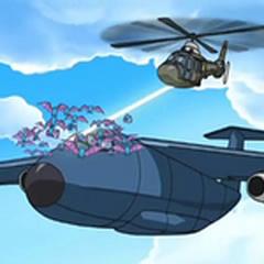 El Equipo Galaxia atacando el avión en el que se transportaba la diamansfera.