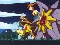 EP026 Starmie, Staryu y Squirtle usando pistola agua