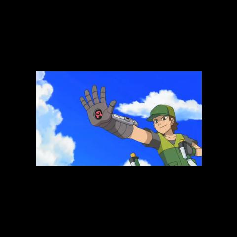 Un Pokémon Napper usando un guante de control en el anime.
