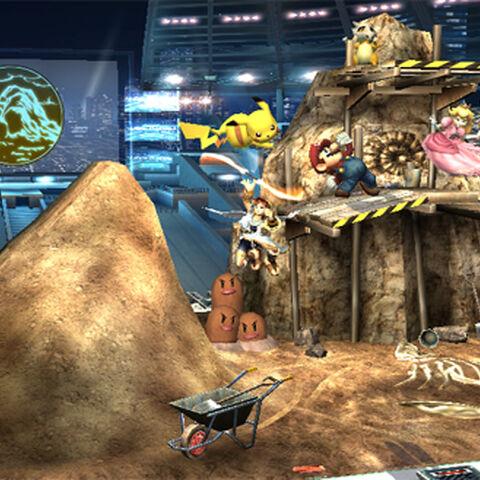 Dugtrio en el escenario <i>Estadio Pokémon 2</i>.