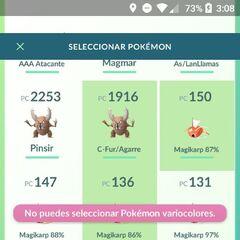 Pokémon GO te avisa de que no puedes seleccionar Pokémon variocolores.