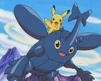 EP384 Heracross salvando a Pikachu