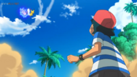 EP1072 Pikachu usando Cola férrea contra Mimikyu