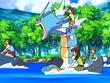 EP560 Alumnos cabalgando con sus Pokémon de tipo agua (2)