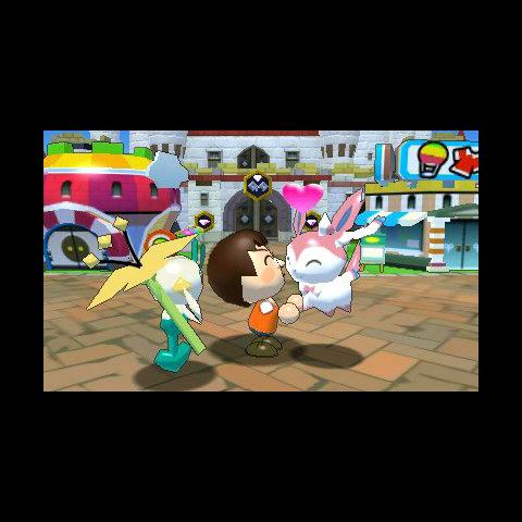 Un Mii con sus Pokémon en la ciudadela del reino.