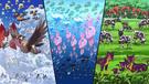 P14 Versión Negra Pokémon en el agua, tierra, y cielo