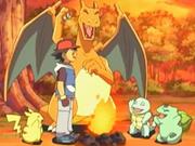 EP466 Ash junto a sus Pokémon originales