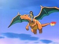 EP412 Charizard volando con ash y pikachu