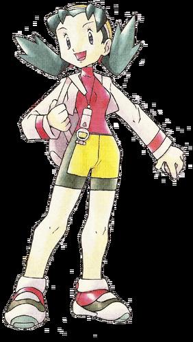 """Ilustración de Cris en <a href=""""/es/wiki/Pok%C3%A9mon_Cristal"""" title=""""Pokémon Cristal"""" class=""""mw-redirect"""">Pokémon Cristal</a>"""