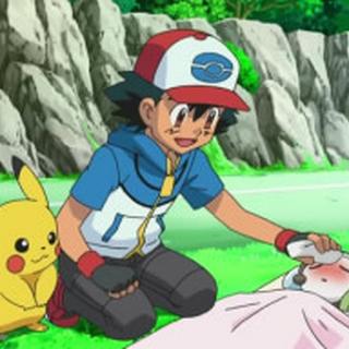 Ash cuidando de Meloetta.