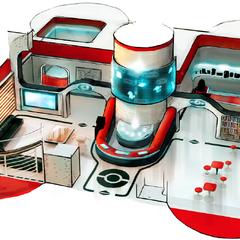 Artwork del interior del centro Pokémon.