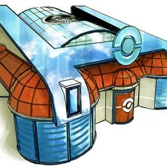 Artwork del exterior del centro Pokémon.
