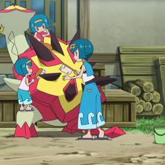 Sarah, Harper y Lana/Nereida limpiando a Turtonator