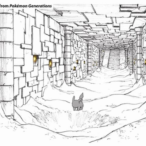 Concept Art de Pokémon Generaciones del castillo Ancestral.