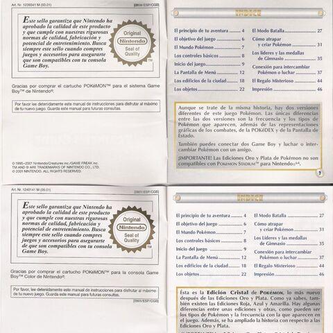 Scan contraportada instrucciones de juego Pokémon Plata y Cristal