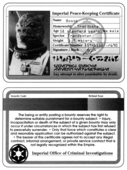 Imperial Peace Keeping Certificate (Bossk)