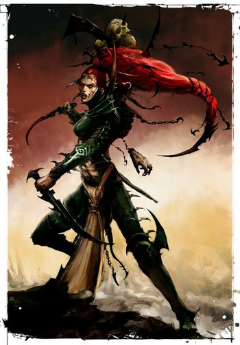 Eldar oscuro bruja súcubo culto de la hoja maldita