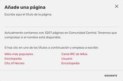 Diálogo crear página