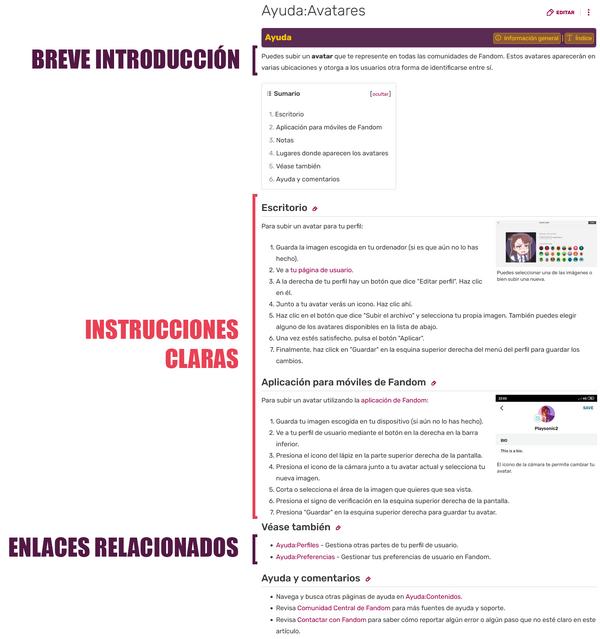 Estructura página ayuda