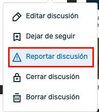 Opción de reportar discusión