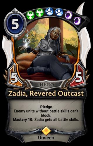 Zadia, Revered Outcast card