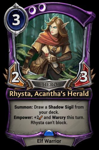 Rhysta, Acantha's Herald card