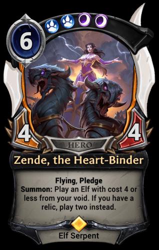 Zende, the Heart-Binder card