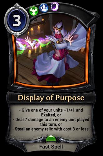 Display of Purpose card