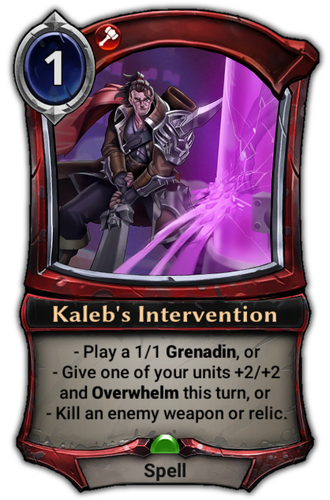 Kaleb's Intervention card