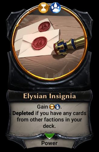 Alternate-art Elysian Insignia card