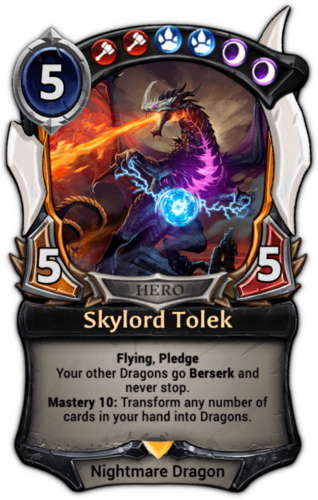 Alternate-art Skylord Tolek card