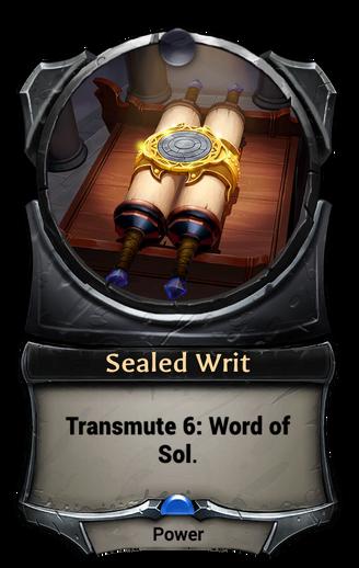 Sealed Writ card