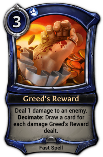 Greed's Reward card