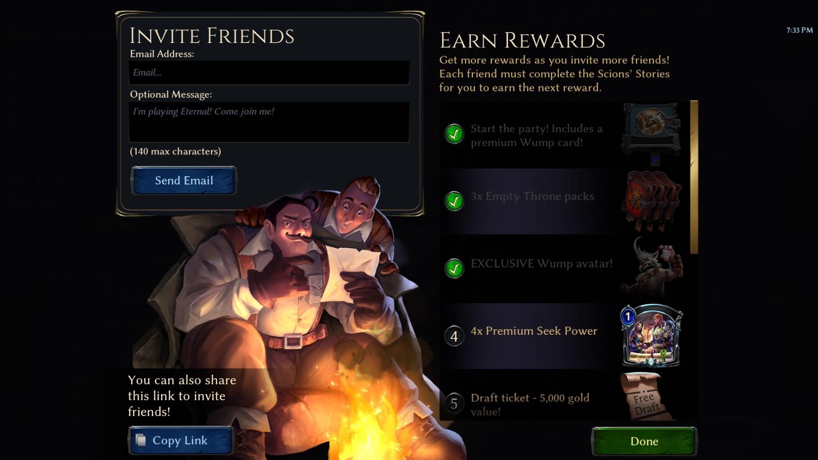Recruit A Friend interface