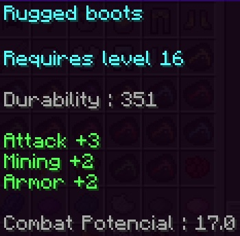 Rugged Boots Stats