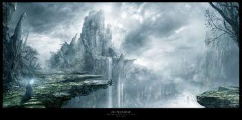 1920x949 2000 On The Ledge 2d fantasy castle wizard mist picture image digital art