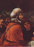 Moses takes his leave of Jethro by Jan Victors, c. 1635, from the incident in Exodus 4-18. Jethro is seated on the left, in red(CROPPED)