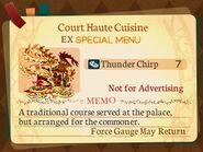 Special Menu. Court Haute Cuisine