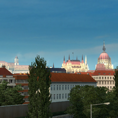 Parliament Building (on the right) with Matthias Church (on the left)