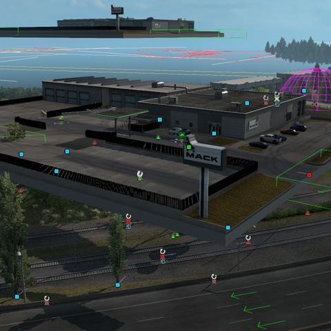 Mack Trucks dealership prefab found in the map editor in 1.36 Open Beta.