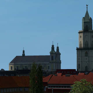 Archcathedral of St. John the Baptist and St. John the Evangelist (left) and the Museum of Diocesan Religious Art - Trinitarian Tower (right)