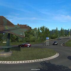 Saab Draken fighter jet outside <a href=