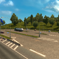 A rest stop at a border crossing into <a href=