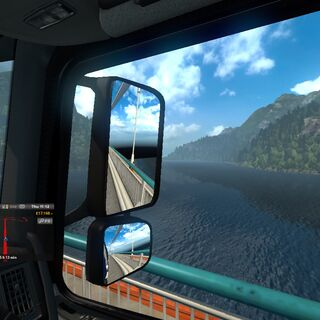 A driver's eye view of a lake in Norway