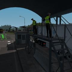 Russian border checkpoint interior