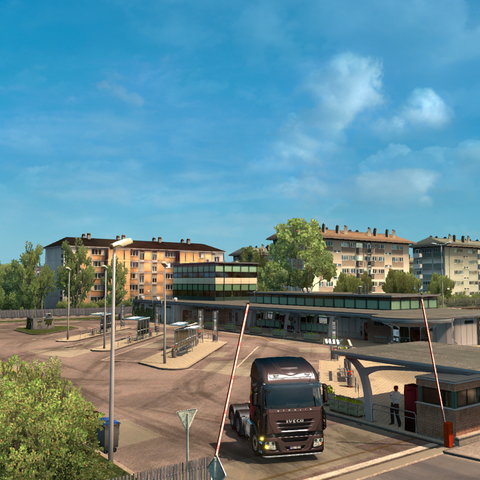 Residential area and bus station