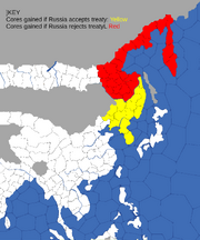Map showing cores China can gain from treaty ofNerchiinsk